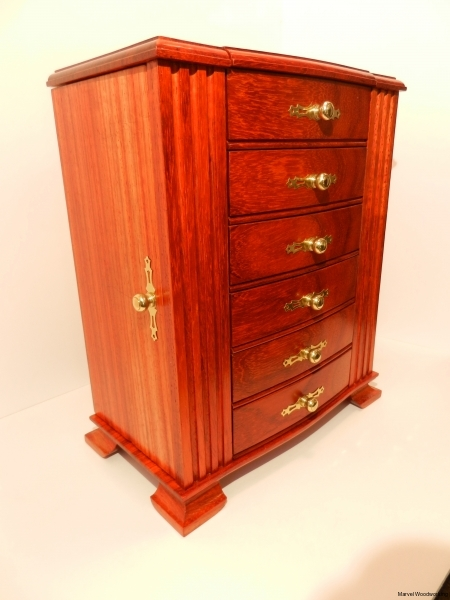 Jewelry box made of African Padauk